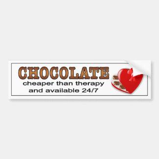Chocolate, cheaper than therapy.  bumper sticker. bumper sticker