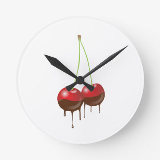 Chocolate cherries round clock
