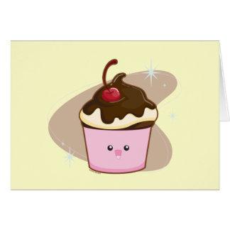 Chocolate Cherry Cupcake Greeting Card