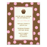 "Chocolate Cherry Cupcake Invitations 4.25"" X 5.5"" Invitation Card"