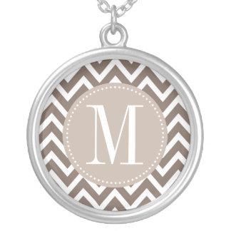 Chocolate Chevron Custom Monogram Silver Plated Necklace