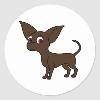 Chocolate Chihuahua Round Sticker