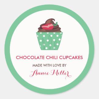 Chocolate Chili Cupcakes Homemade Baking Round Sticker