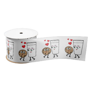 Chocolate Chip Cookie and Milk 3 Inches Satin Ribbon