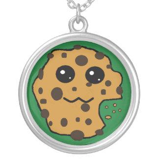 Chocolate chip cookie dark green round pendant necklace