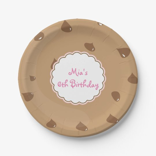 Chocolate Chip Cookie Girls Birthday Party Plates