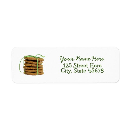 Chocolate Chip Cookies and Green Ribbon Return Address Label