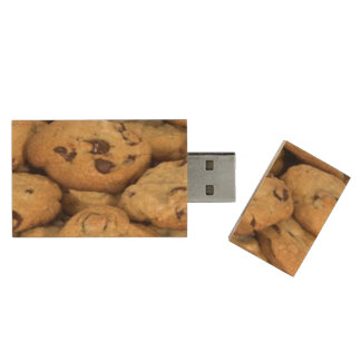 Chocolate Chip Snack Desserts Sweets Cookies Wood USB 2.0 Flash Drive