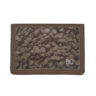 Chocolate chip wallet with personalizable monogram