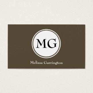 Chocolate Circle Monogram Custom Business Cards