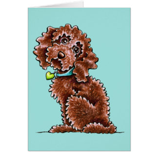 Chocolate Cockapoo Heart Collar Greeting Card