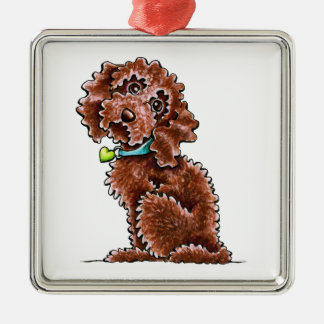 Chocolate Cockapoo Heart Collar Silver-Colored Square Decoration