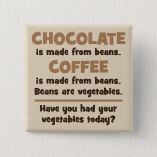Chocolate, Coffee, Beans, Vegetables - Novelty 15 Cm Square Badge