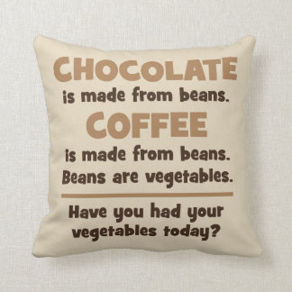 Chocolate, Coffee, Beans, Vegetables - Novelty Cushion