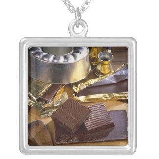 Chocolate composition For use in USA only.) Square Pendant Necklace