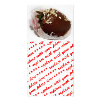 Chocolate Covered Strawberry With Nuts Custom Photo Card