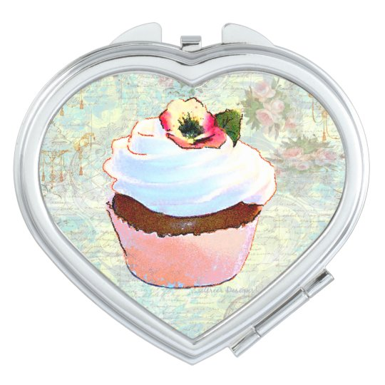 Chocolate Cupcake and Pink Roses Makeup Mirror