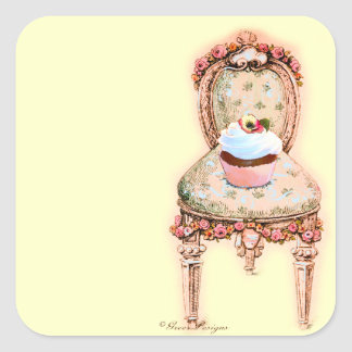 Chocolate Cupcake Pink French Chair Square Sticker
