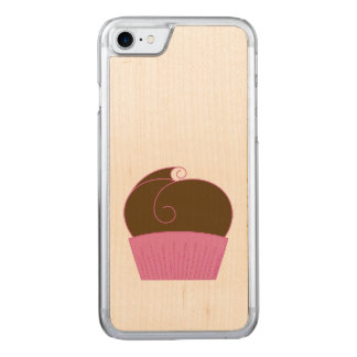 Chocolate Cupcake Pink Wrapper Carved iPhone 8/7 Case