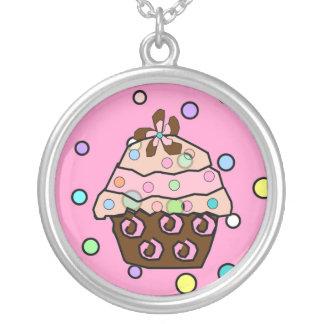Chocolate Cupcake polka dot necklace/pendant