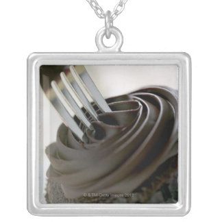 Chocolate cupcake silver plated necklace