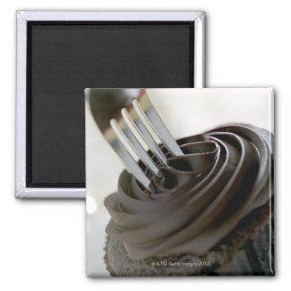 Chocolate cupcake square magnet