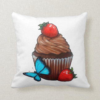 Chocolate Cupcake, Strawberries, Blue Butterfly Cushion