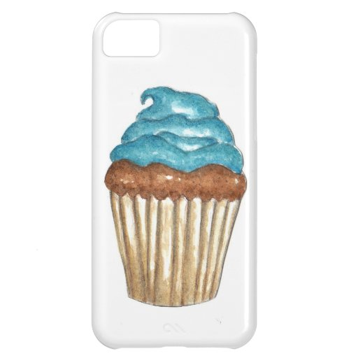 Chocolate Cupcake with blue frosting iPhone 5C Cases