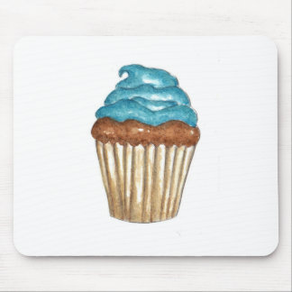 Chocolate Cupcake with blue frosting Mouse Pad