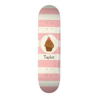 Chocolate Cupcake with Cherry & Pink Stripes Skate Boards
