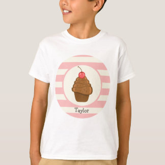 Chocolate Cupcake with Cherry & Pink Stripes T-Shirt
