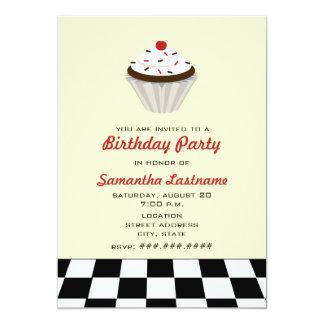 Chocolate Cupcake With Cherry Retro Birthday Party Card