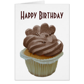 Chocolate Cupcake with Hearts Greeting Card