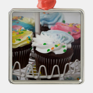 Chocolate cupcakes on a cake stand 2 christmas ornament