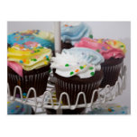 Chocolate cupcakes on a cake stand 2 post card