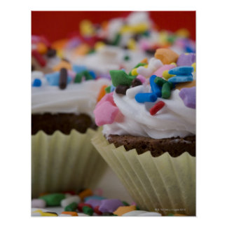 Chocolate cupcakes with icing and sprinkles, poster