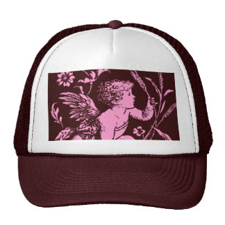 Chocolate cupid with wheat stalk vintage print cap