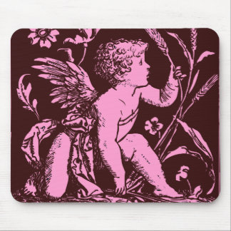 Chocolate cupid with wheat stalk vintage print mouse pad