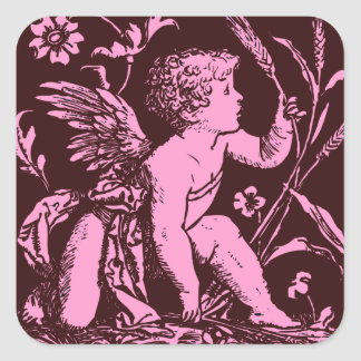 Chocolate cupid with wheat stalk vintage print square sticker