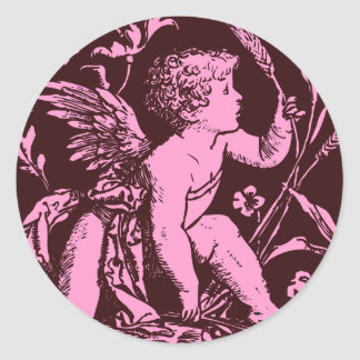 Chocolate cupid with wheat stalk vintage print stickers