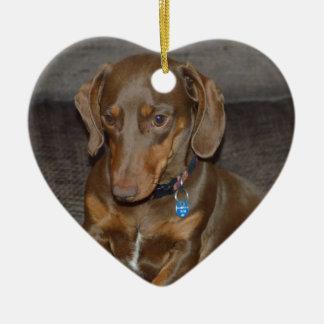 Chocolate Dachshund Ceramic Heart Decoration