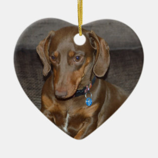 Chocolate Dachshund Christmas Ornament