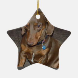 Chocolate Dachshund Christmas Ornament