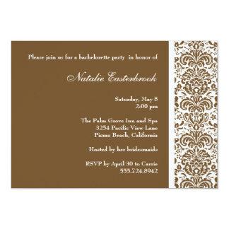 "Chocolate Damask Bachelorette Party Invitation 5"" X 7"" Invitation Card"
