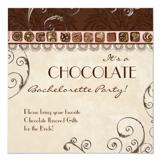 Chocolate Damask Swirl Batchelorette Party Invite