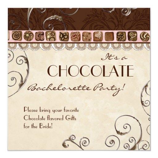 Chocolate Damask Swirl Batchelorette Party Invite 13 Cm X 13 Cm Square Invitation Card