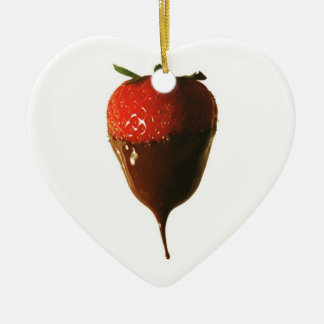 Chocolate dipped strawberry christmas ornament
