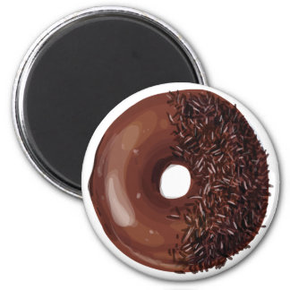 Chocolate Dipped with Chocolate Sprinkles Doughnut 6 Cm Round Magnet