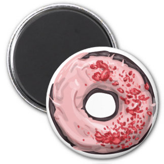 Chocolate Dipped with Strawberry Frosting Doughnut 6 Cm Round Magnet