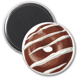 Chocolate Dipped with Vanilla Frosting Doughnut. 6 Cm Round Magnet